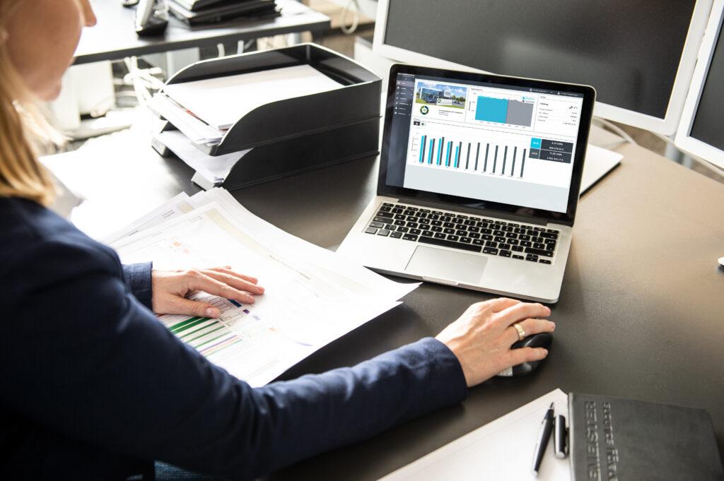 Energiedaten des Energy Monitors auf Laptop