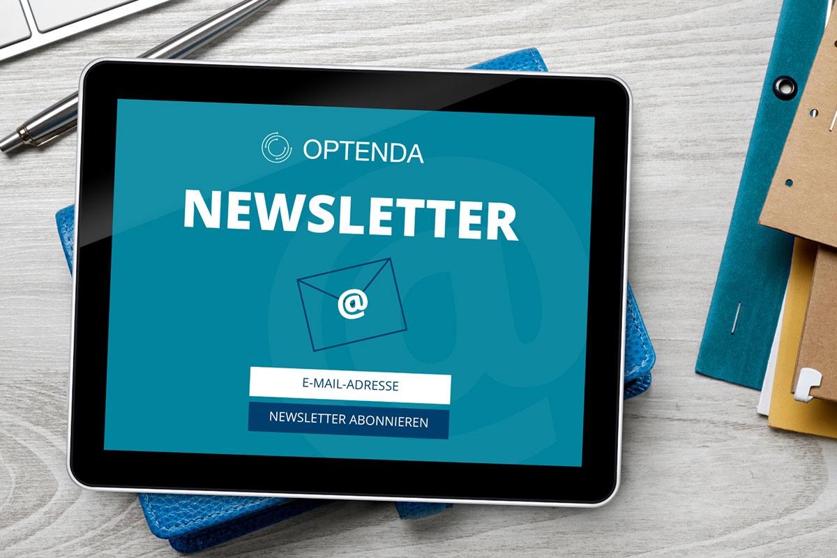 OPTENDA Newsletter Anmeldung in einem Tablet