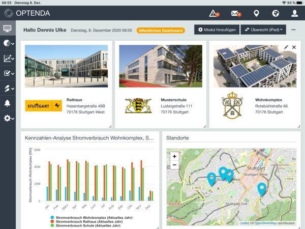 Dashboard des OPTENDA Energy Monitor für Kommunen und öffentliche Einrichtungen