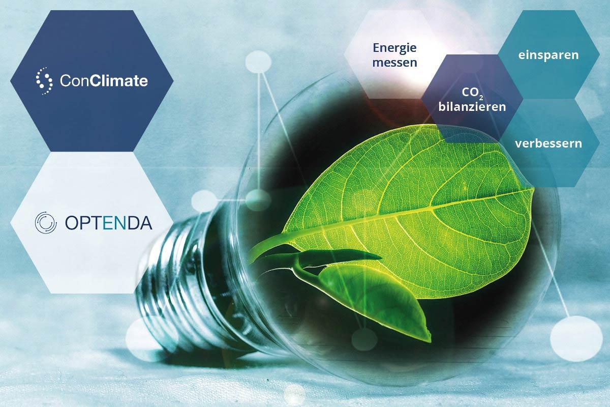 Glühbirne, in der eine Pflanze wächst, daneben Sechsecke mit den Logos von OPTENDA und ConClimate sowie weiteren Stichworten zum Web-Seminar-Inhalt