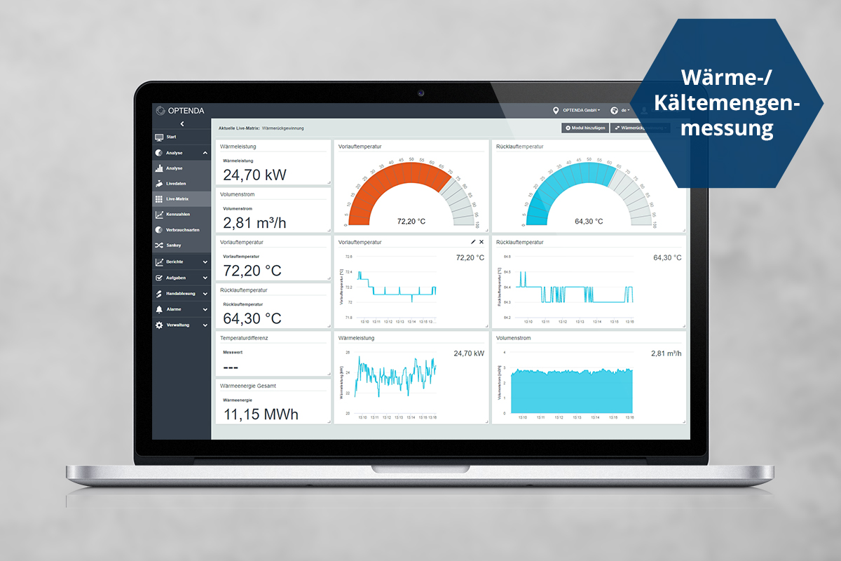Laptop mit der Wärme- und Kältemengenmessung im Energy Monitor von OPTENDA